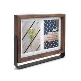 Otáčecí rámeček na fotografii 10x15 cm Umbra AXIS MULTI - ořechový