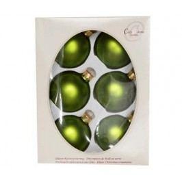 Sada 6 dekoračních koulí Apple Green Matt