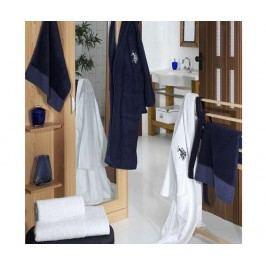Sada 4 ručníků a 2 županů US Polo Couple White Dark Blue