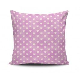 Dekorační polštář Lilac Hearts 45x45 cm