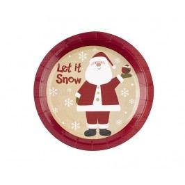Sada 8 talířů na jednorázové použití Let It Snow Dear Santa