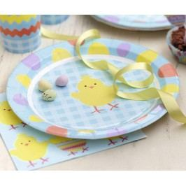 Sada 8 jednorázových talířů Easter Chick Velikonoční dekorace