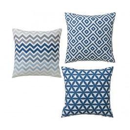 Sada 3 dekoračních polštářů Geometry Dark Blue 45x45 cm