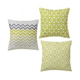 Sada 3 dekoračních polštářů Geometry Green 45x45 cm