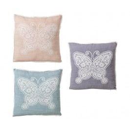 Sada 3 dekoračních polštářů Pink Butterfly 45x45 cm