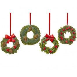 Sada 4 závěsných dekorací Wreath Xmas