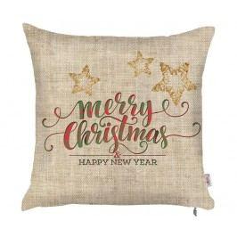 Povlak na polštář Merry Christmas Natural 43x43 cm Vánoční dekorace