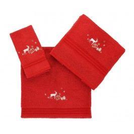 Sada 3 ručníků Christmas Reindeer Red