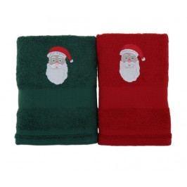 Sada 2 ručníků Father Noel Green and Red 50x100 cm