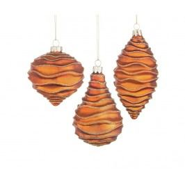 Sada 3 dekoračních koulí Silky Orange