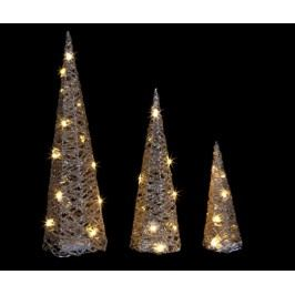 Sada 3 světelných dekorací Pyramid Natural