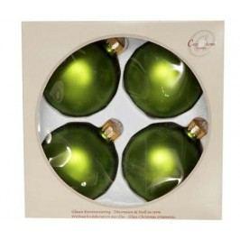 Sada 4 dekoračních koulí Apple Green Matt