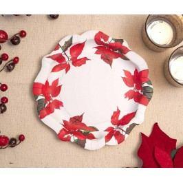 Sada 12 talířů na jednorázové použití Christmas Poinsettia Vánoční dekorace