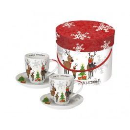 Sada 2 šálků a 2 podšálků Christmas Family