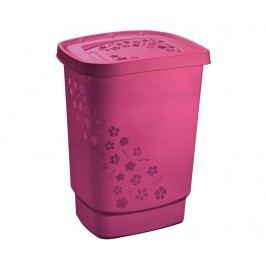 Koš s víkem na prádlo Flowers Pink 55 L