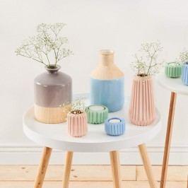 Obrázek PASTELLO Keramická váza vzhled dřeva - šedá Dekorativní vázy