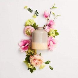 PASTELLO Keramická váza vzhled dřeva - šedá