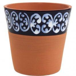 GLAZE Květináč z terakoty 14 cm - modrá/bílá