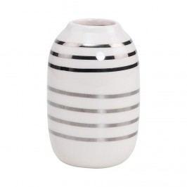 LILIPOT Váza pruhovaná - bílá/stříbrná