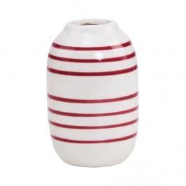 LILIPOT Váza pruhovaná - bílá/vínová
