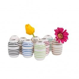 LILIPOT Váza pruhovaná - bílá/tyrkysová