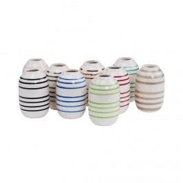 LILIPOT Váza pruhovaná - bílá/zelená