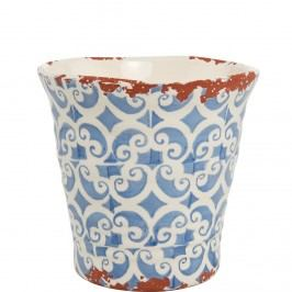 TERRACOTTA Květináč 11 cm - bílá/modrá Dekorativní vázy