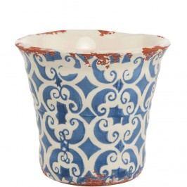 TERRACOTTA Květináč 13 cm - bílá/modrá Dekorativní vázy