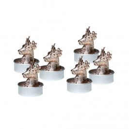 FLAMBEAU Čajová svíčka jelen 6 ks - šedá/stříbrná