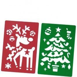 X-MAS Šablony na okno sob a stromeček, 2 ks Vánoční dekorace na okno