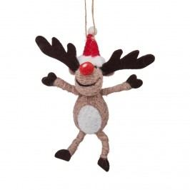 HANG ON Ozdoba filcová sob s červeným nosem Vánoční dekorace