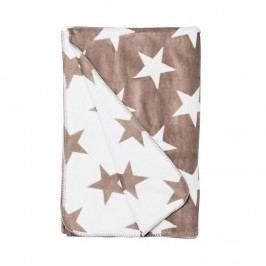 MACIO Flanelová deka hvězdy - hnědá/bílá