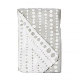 MACIO Flanelová deka puntíky - šedá/bílá