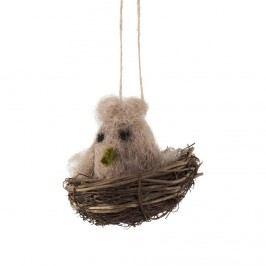 EASTER Filcová ozdoba hnízdo s ptáčkem