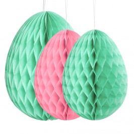 EASTER Papírová dekorační kraslice, set 3 ks - zelená/růžová