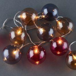 TRICOLORE Světelný řetěz skleněné koule tónované 10 světel