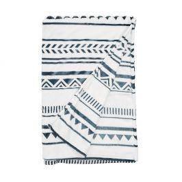 SAVAGE Deka etno vzor 150 x 200 cm - bílá