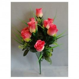 Umělá kytice Růže růžová, 42 cm