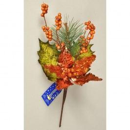 Vánoční větvička Poinsettie s bobulemi měděná,  Vánoční dekorace