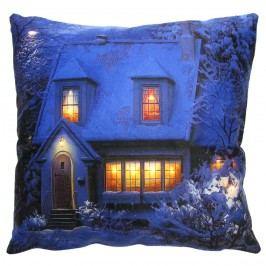 Jahu Svíticí polštářek Zasněžený dům, 40 x 40 cm Dekorační polštáře