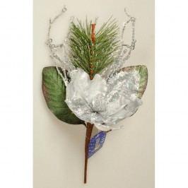 Vánoční větvička Magnólie s korálky stříbrná,  Vánoční dekorace