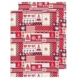 Trade Concept Kuchyňská utěrka Vánoce červená, 50 x 70 cm, sada 2 ks