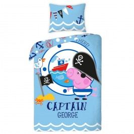 Halantex Dětské bavlněné povlečení Prasátko George captain, 140 x 200 cm, 70 x 80 cm