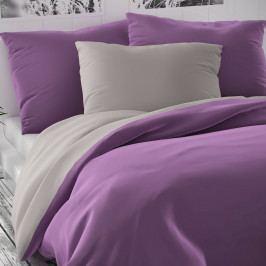 Kvalitex Saténové povlečení Luxury Collection fialová/světle šedá, 200 x 200 cm, 2 ks 70 x 90 cm