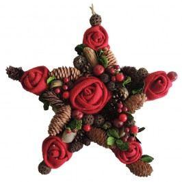 StarDeco Dekorativní hvězda Růže červená, 35 cm
