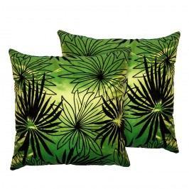 Jahu Povlak na polštářek Basic Květy zelená, 40 x 40 cm, sada 2 ks