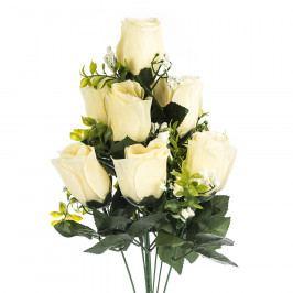 Umělá kytice Růže krémová, 48 cm