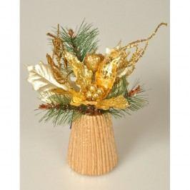 Aranžmá Poinsettie zlatá, 23 cm Vánoční dekorace