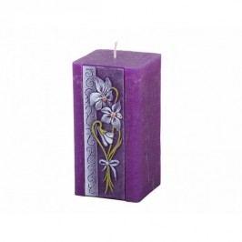 Vyřezávaná svíčka Fialka, hranol