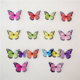 Samolepicí 3D motýlci barevné, 18 ks